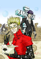 Vash and Wolfwood - Colored by ashleyvictoria