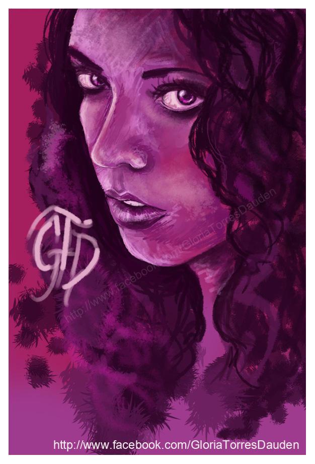 Selfportrait over pink by Gloria-T-Dauden