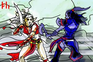 Light Elf vs Dark Alv by PeKj