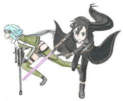 Kirito and Sinon 2 by Allissei