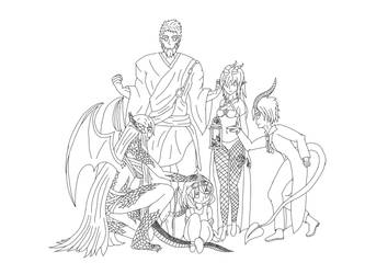 2nd DnD group (digital line art) by ZannyZalonder