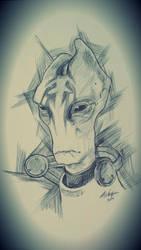 Mordin Solus - ballpoint pen portrait by ellieshep