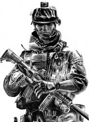 Battlefeild 3 Pencil Drawing by Keshavsart