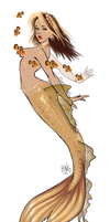 Golden Greek Goddess with Clowns by seaspire