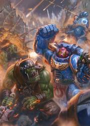 Space Marines vs. Orks by jubjubjedi
