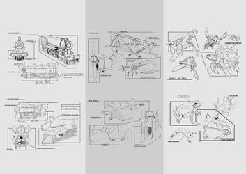 Trains and Turtles sketches by KennedFood