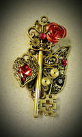 Gold and Ruby Fantasy Key by ArtByStarlaMoore
