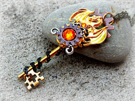 Steampunk Golden Dragon of the Sun Key Necklace by ArtByStarlaMoore