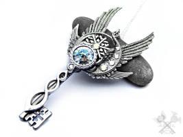 Very Icy Skeleton Key Necklace by ArtByStarlaMoore