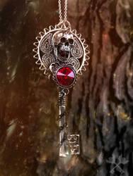 Bloodstone Skeleton Key Necklace by ArtByStarlaMoore