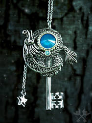 Oceanic Dragon Skeleton Key Necklace by ArtByStarlaMoore