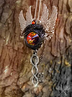 The Duality of Existence- Fantasy Key Necklace by ArtByStarlaMoore