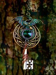 Celtic Dragon Fantasy Key Necklace by ArtByStarlaMoore
