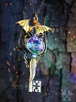 Featherwinds Dragon Fantasy Key Necklace by ArtByStarlaMoore
