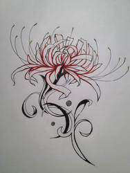 Spider Lily Tattoo Design by UchuuPanda