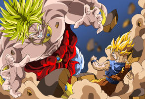 Son Goku and Broly Fighting by Sersiso
