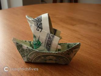 Dollar Origami Santa in a Canoe v2 by craigfoldsfives
