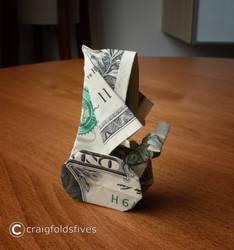 Dollar Origami Santa on a Segway by craigfoldsfives
