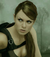 Alison Carroll as Lara Croft in forest by Avitus12