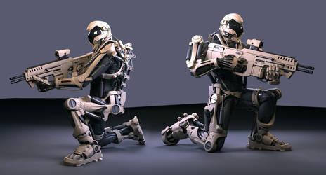 super soldier exoskeleton with Gun 1 wip by Avitus12