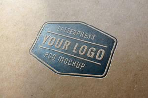 Letterpress Logo MockUp (Free PSD) by GraphicBurger