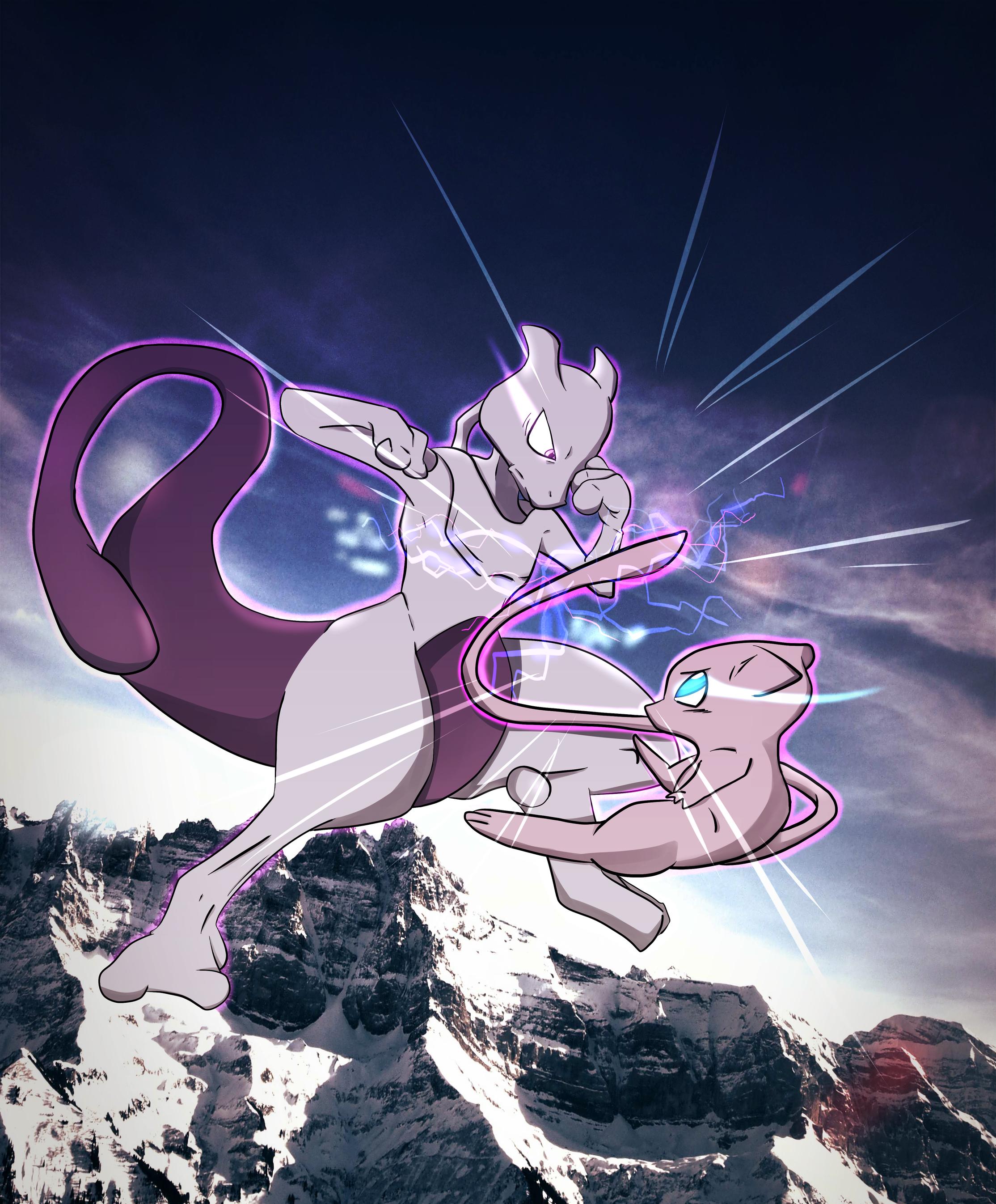 Mew vs. Mewtwo (Pokemon) by pmdgv on DeviantArt