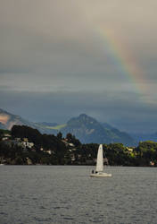 Sailboat and Rainbow by Somebody-Somewhere
