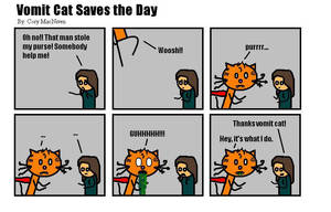 Vomit Cat Saves the Day by Quarl