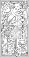 Goddess of Tea by Echo Chernik Coloring Page by echo-x