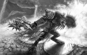 WoW Worgen Prot Warrior BW by Dreamspirit