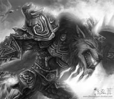 WoW Worgen Prot Warrior BW CU by Dreamspirit