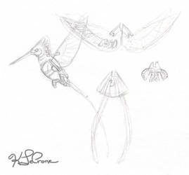 Mechanical Hummingbird Papercraft Concept Sketch by Dreamspirit