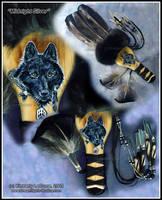Midnight Silver-Black Wolf Fan by Dreamspirit
