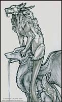 Sketch: Dragon and Gargoyle-CU by Dreamspirit