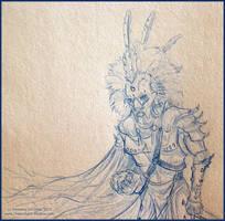 Sketch:Richard in Lion ArmorCU by Dreamspirit