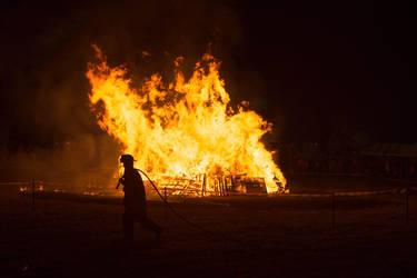Fall Festival Bonfire - Firefighter by robcwilliams