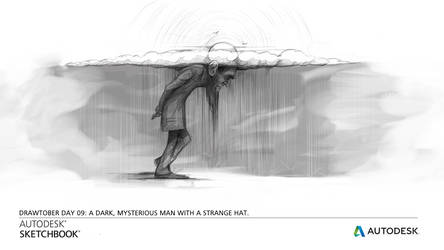Dark man with a mysterious hat/Autodesk Drawtober by CarolineVos