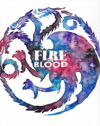 Fire and Blood Game of Thrones Watercolor by GoldenSplash