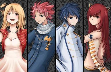 Fairy Quartet (Fairy Tail) by cloverhearts