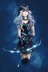 Midnight Frost (LoL's Ashe) by cloverhearts
