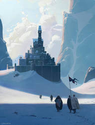 A bunch of dudes walking up to a castle by JeremyPaillotin