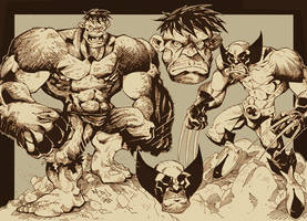Hulk and Wolvie INKS by Red-J