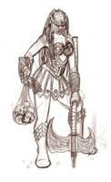 Female Yautja Sketch by TheRoyalFrog
