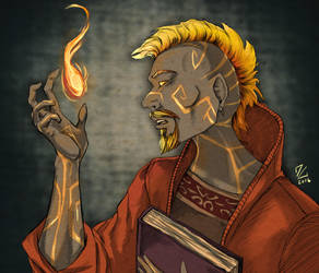 Fire Genasi Wizard - Keahi Moserah by Narthyxa