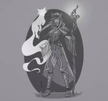 Druid and Fox Spirit -WIP by Narthyxa