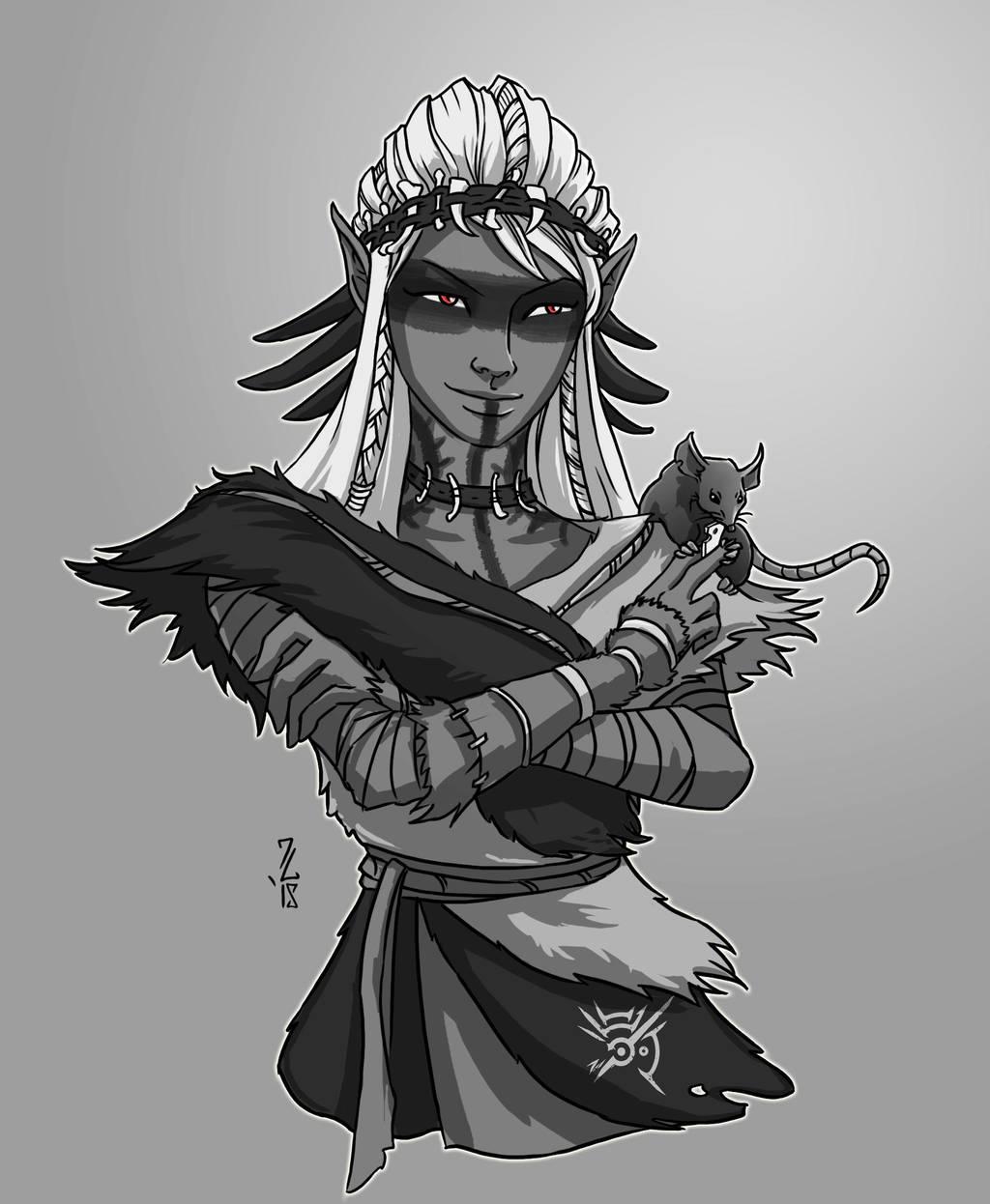 Darrow and Gee - Drow Warlock and Familiar by Narthyxa