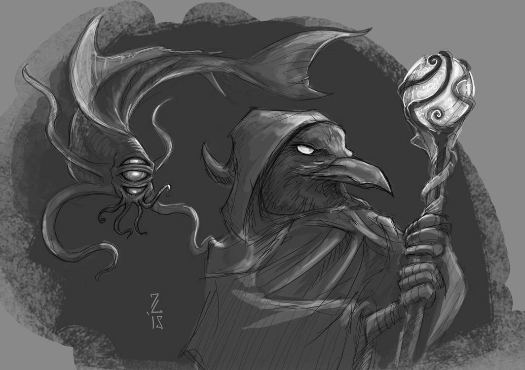 Kenku Warlock of Cthulhu and Aboleth Pet by Narthyxa