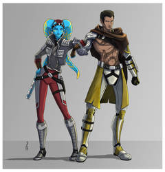 Mocca Hawksia Ryo and Commander Zillo by Narthyxa