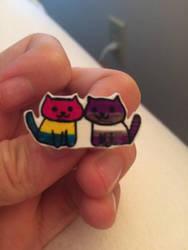 Panromantic graysexual pride Neko Atsume cats by multifandomed25