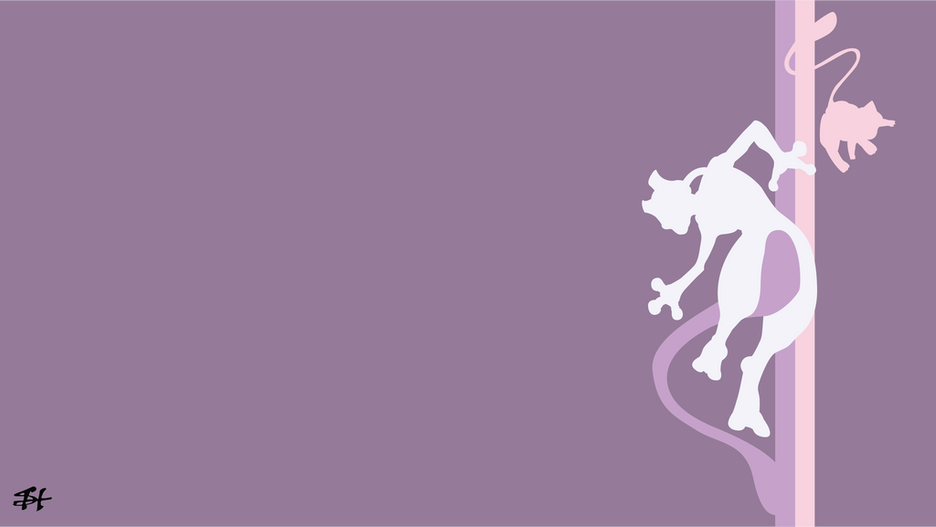 Mew and Mewtwo (Pokemon) Minimalist Wallpaper by slezzy7 ...